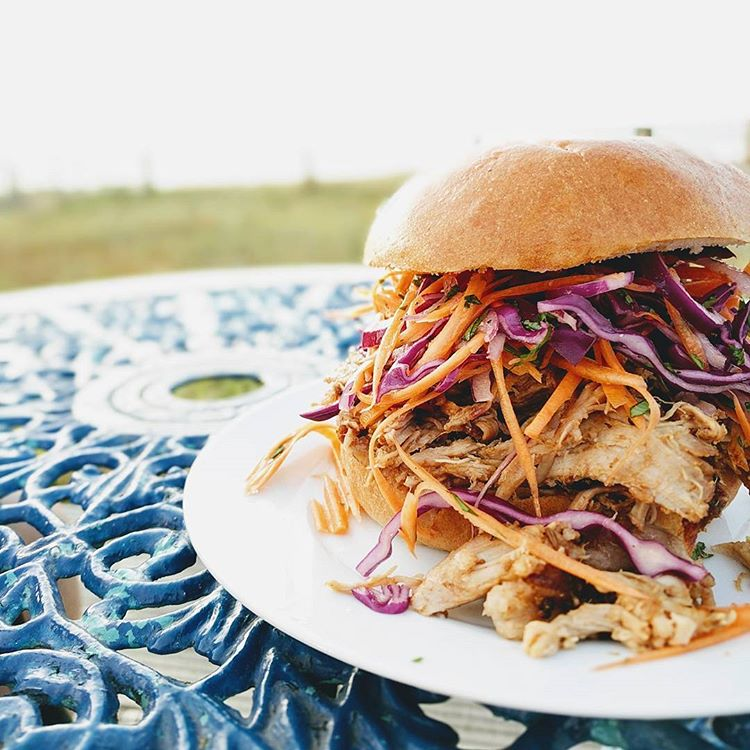 Pulled pork brioche buns with a vinegar slaw
