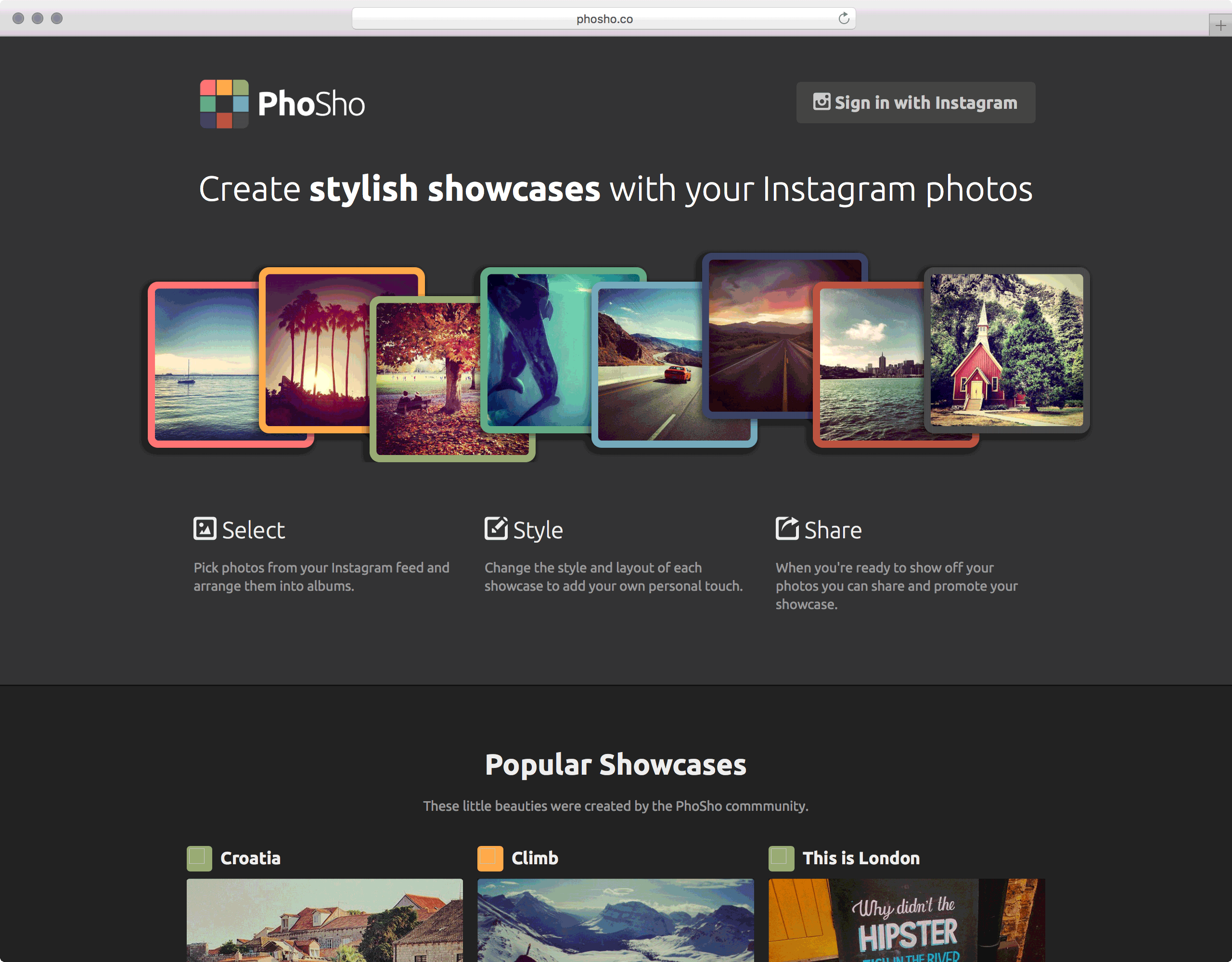PhoSho.co Showcase your Instagram photos UI