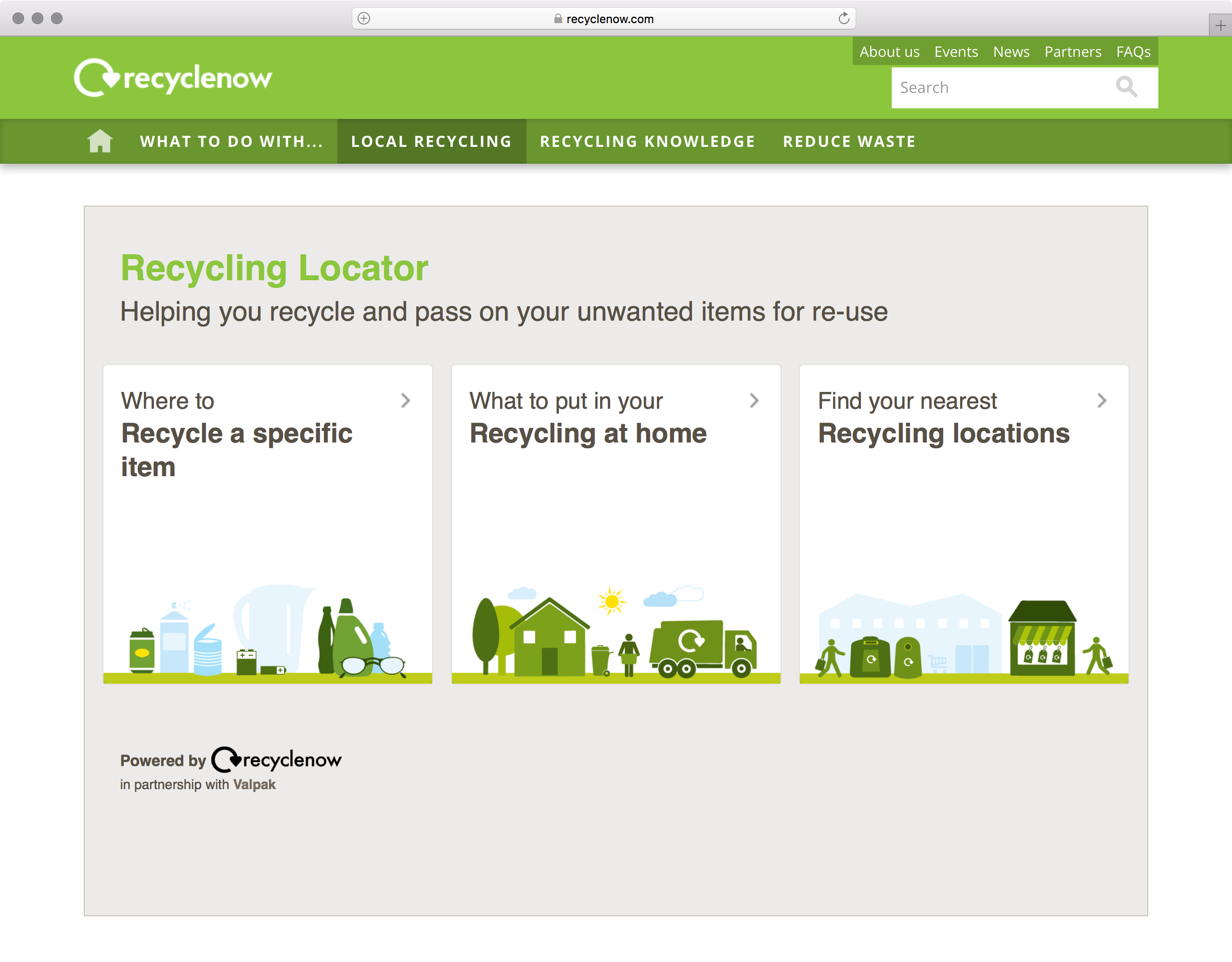 Recycle Now Recycling Locator UI